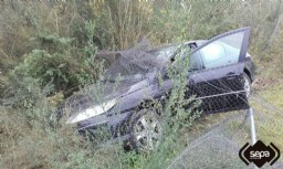 Zona del accidente en la AS-119 en San Martín del Rey Aurelio.